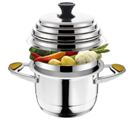 COOKING WITH THESTACKING SYSTEM, 2-3 MEALS, AT THE SAME TIME, 1 HOB, AT LOWER TEMPERATURES. SAVE ENERGY, FOOD, TIME AND EAT HEALTHILY