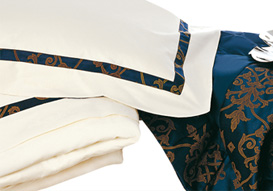 Napoleon Blue linens breathe luxury into your bedroom and bathroom.